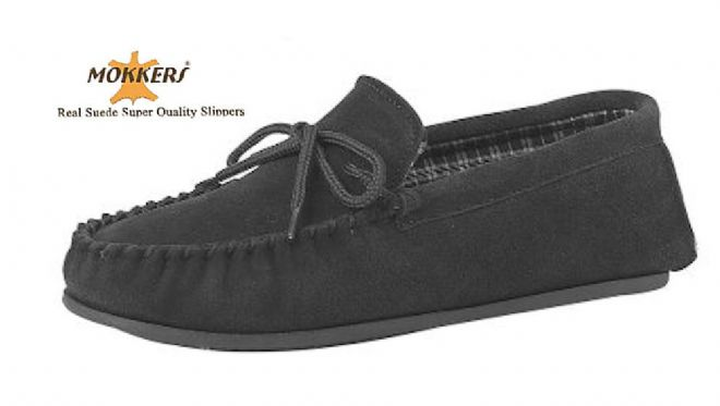 Men's Suede Moccasins with a Hard Sole BLACK up to size 15